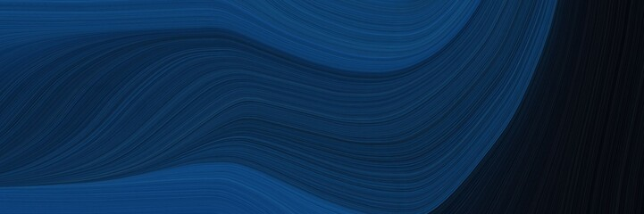 colorful banner with midnight blue, black and teal blue colors. dynamic curved lines with fluid flowing waves and curves
