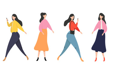Young woman in casual clothes standing in different poses, Women and social media communication with gadget. isolated on white background -  Vector illustration.