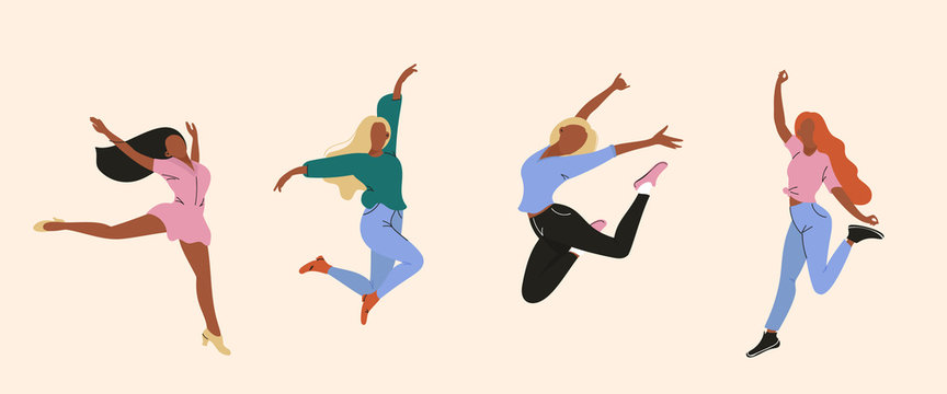 Vector illustration of dancing women, Happy dancing people, Trendy retro style Flat colorful vector illustration.