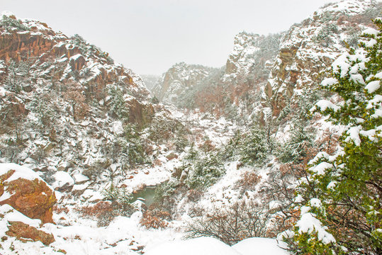 Snowing in the Wichita Mountains