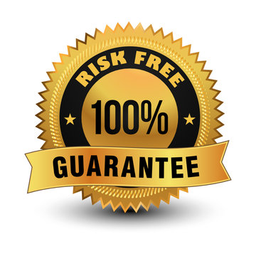 Exclusive high quality 100% risk free guarantee golden badge with sleek ribbon on top.
