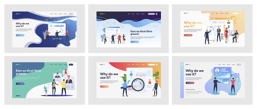 Set of business people evaluating personnel. Flat vector illustrations of men and women in suits assessing employees. HR and career concept for banner, website design or landing web page