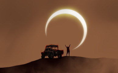 Digital illustration painting design style a traveler standing on sand dune with off-road car against solar eclipse.