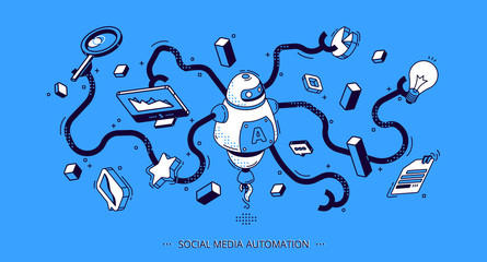 Social media automation isometric banner. Internet technology tools for SEO, digital content. Octopus robot with many hands holding business attributes and graphs. 3d vector illustration, line art