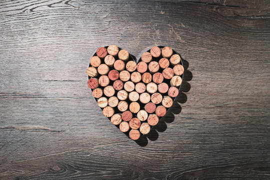 Heart shaped wine corks flat lay for 14 February date