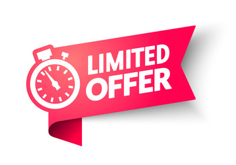 vector illustration Red Limited Offer Banner With Clock For Promotion. Last Chance Label On Isolated Background.