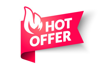 Vector illustration Hot Sale Price Offer Banner. Hot Deal Label Template With Flame.