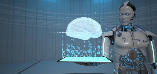 Fototapete - Humanoid Robot Doctor Tablet Brain