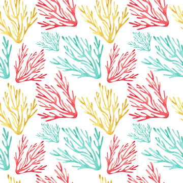 Bright watercolor seamless pattern with coral sea reef. Global warming and climate change effects. Hand drawn illustration.