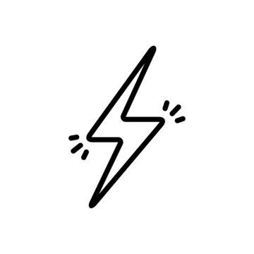 Black line icon for lightening bolt