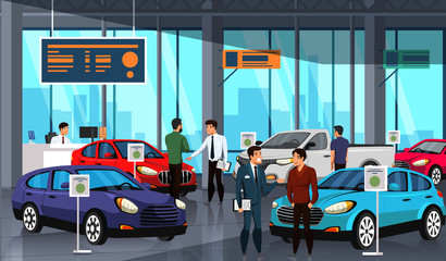 Sellers and potential buyers group in car showroom
