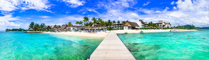 Idyllic tropical island scenery with great beach and turquoise sea. Mauritius island vacation