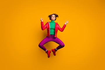 Full length photo funky brown boob hair sporty girl jump exercise yoga wear red outfit purple look...