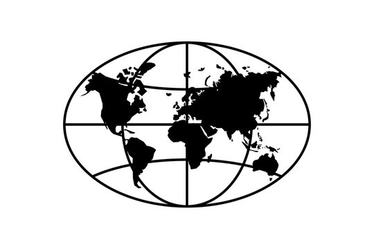 World planet map elongated circle black icon. Globe earth continents vector oval isolated symbol