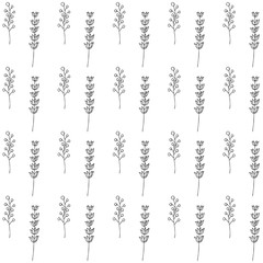 Branches of Elderberry and lavender vector seamless pattern