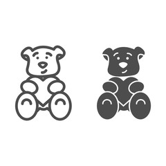 Teddy bear with heart line and solid icon. Romantic teddy bear toy illustration isolated on white. Cute black teddy bear outline style design, designed for web and app. Eps 10.