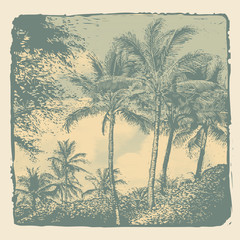 Tropical landscape with palms trees and clouds, retro engraving style. vector illustration