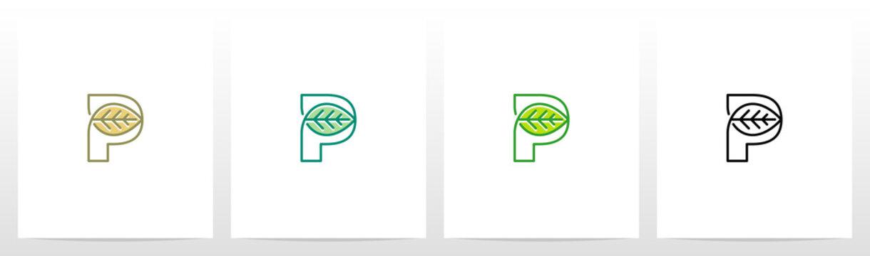 Leaf On Letter Logo Design P