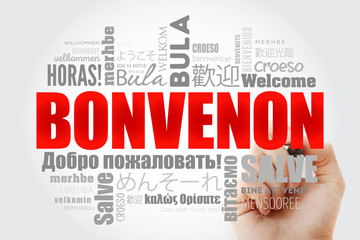 Bonvenon (Welcome in Esperanto) word cloud with marker in different languages