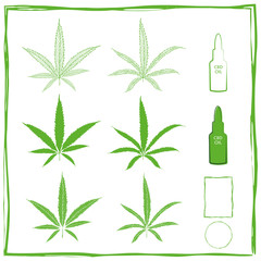 Painterly cannabidiol vector green icons set in line art, silhouette and stencil. Two different types of marijuana leaves and CBD dropper bottles. Three different brush stroke frames for labels.