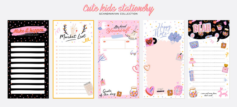 Collection of weekly or daily planner, note paper, to do list, stickers templates decorated by cute love illustrations and inspirational quote. School scheduler and organizer. Flat vector