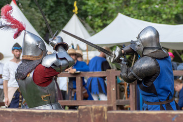 Bytom, Silesia, Poland 01/09/2019 Medieval fair. Demonstrations of knights fighting and life in the olden days. Editorial photos