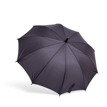 Black umbrella in an open form is isolated on a white background with a shadow.