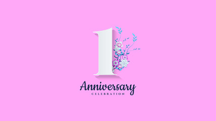1st anniversary background. with illustrations of numbers with flowers below it.