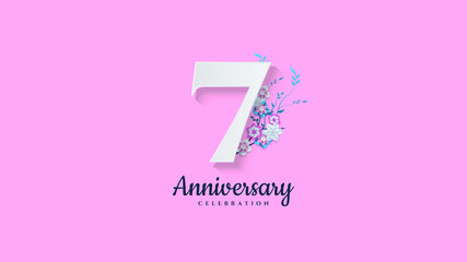 7th anniversary background. with illustrations of numbers with flowers below it.