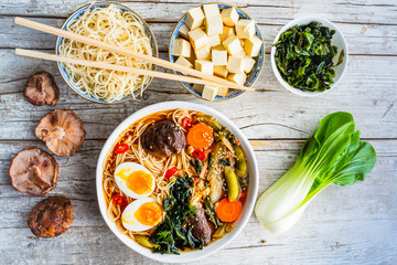 Ramen soup with noodles and traditional ingredients.