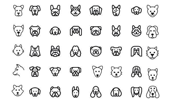 Dog head icon set vector design black and white