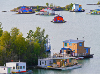 House Boats in Great Slave Lake at Yellowknife, Northwest Territories, Canada