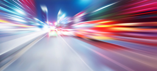 acceleration speed motion on night road Fotomurales
