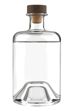 Clear White Glass Bottle of Rum, Whiskey, Vodka, Gin, Sake, Tequila, Brandy, Tincture, Moonshine or Cognac Bottle is Partially Filled. 3D Render Isolated on White.
