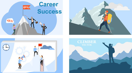 The path to the top. Mountain climbing. Career. Vector illustration of career growth.