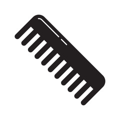 Cutout silhouette Handleless hair comb icon. Black outline barbershop logo. Flat isolated vector illustration on white background. Universal barber comb for mustache, hairstyle, combing pet wool