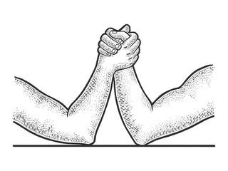 Arm wrestler hands sketch engraving vector illustration. T-shirt apparel print design. Scratch board imitation. Black and white hand drawn image.