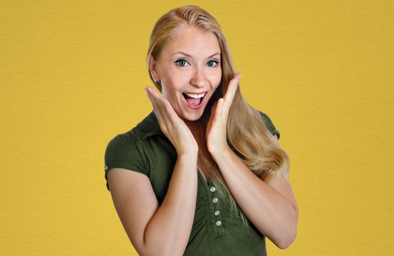 woman is very happy and surprised euphoria