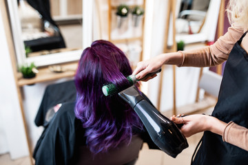 Beautiful hairstyle of young adult woman with purple hair in hair salon.