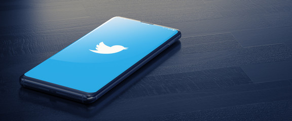 KYIV, UKRAINE-JANUARY, 2020: Twitter on Mobile Phone Screen. 3D.Social Network Concept