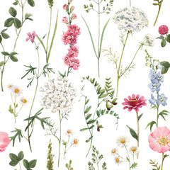 Tuinposter Kunstmatig Beautiful vector floral summer seamless pattern with watercolor hand drawn field wild flowers. Stock illustration.