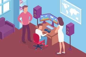 Gamer Isometric Illustration
