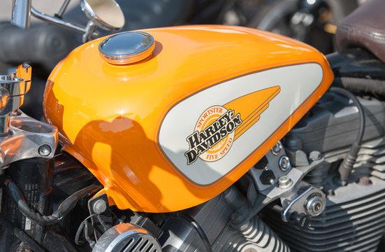 Closeup of a Harley Davidson motorcycle fuel tank in Rushmoor, UK - April 19, 2019