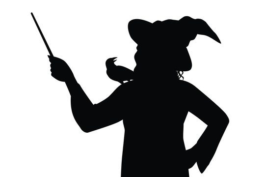 Female witch silhouette vector