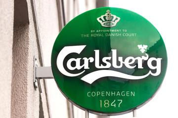 wuppertal, North Rhine-Westphalia/germany - 07 01 2020: carlsberg beer sign in wuppertal germany