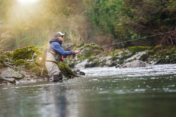 trout fly fisherman in river Fototapete