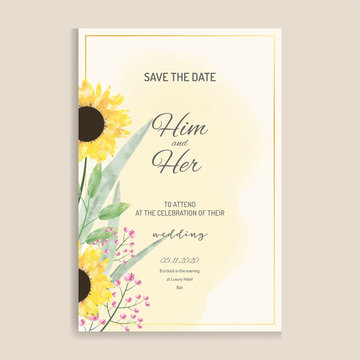 Elegant wedding invitation with watercolour sunflowers and green leaves design. Template vector image.