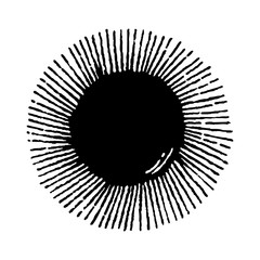 Sun engraving. Set of Sun. Hand drawn ethnic symbol.
