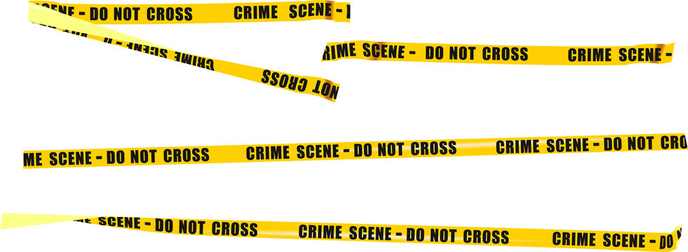 a small set of police yellow ribbons with the text prohibiting passage