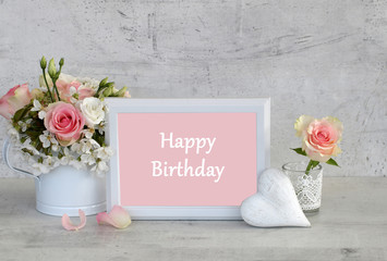 Frame with the text happy birthday